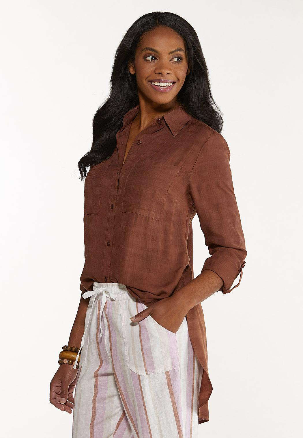 Button Down Grid Tunic Top (Item #44548124)