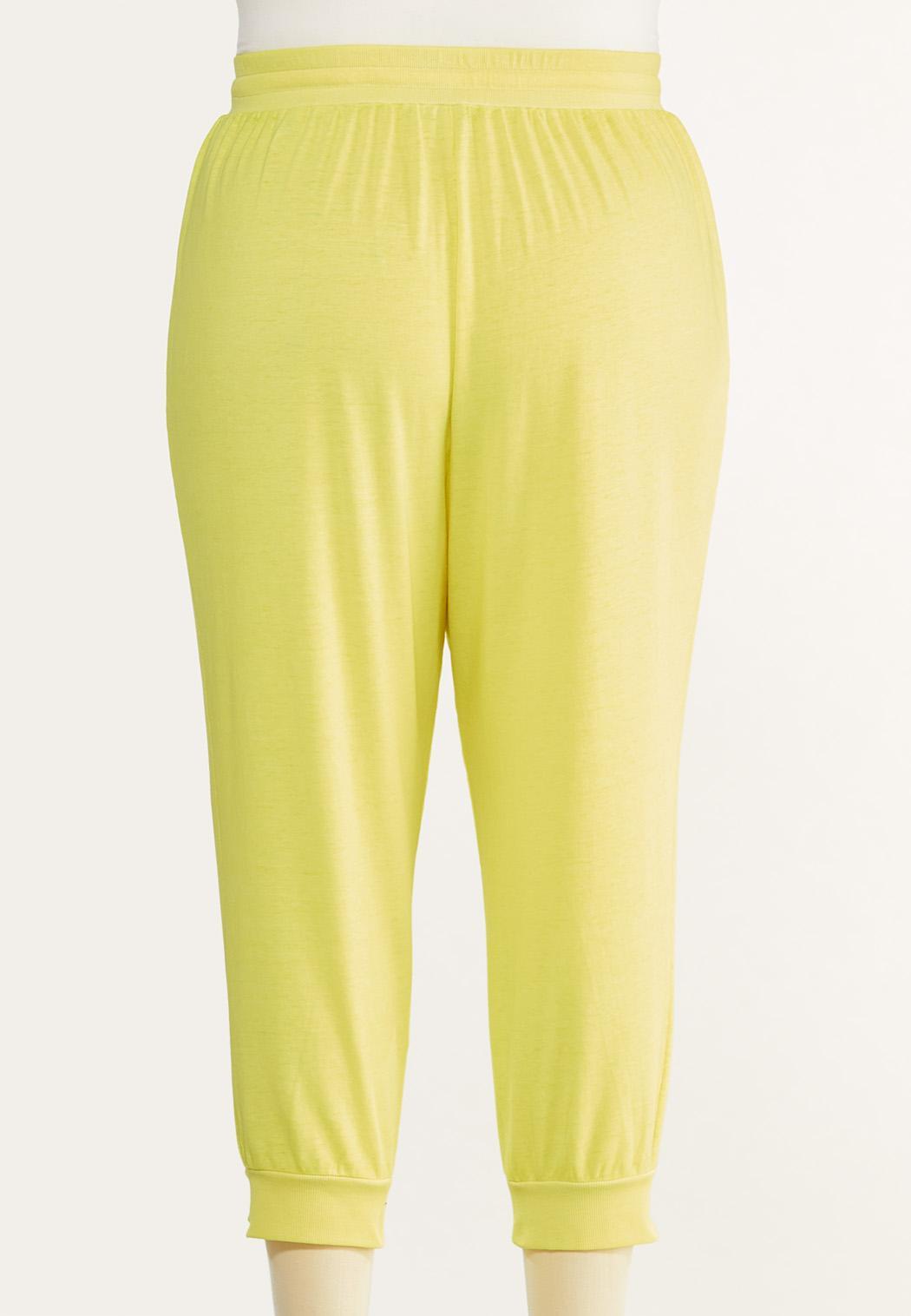 Plus Size Cropped Lemon Lime Joggers (Item #44548215)