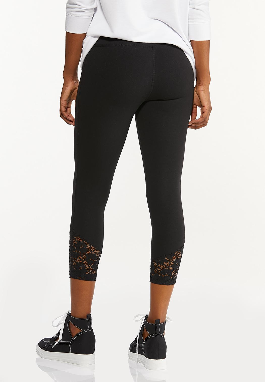 Cropped Lace Hem Leggings (Item #44548232)