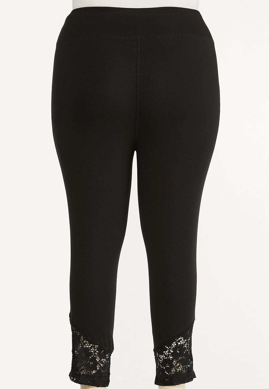 Plus Size Cropped Lace Hem Leggings (Item #44548242)