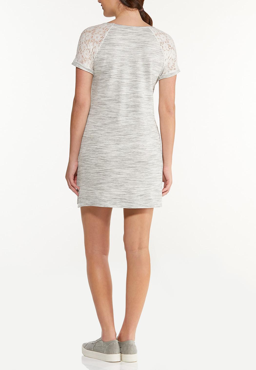 Plus Size Casual Lace Trim Dress (Item #44548467)
