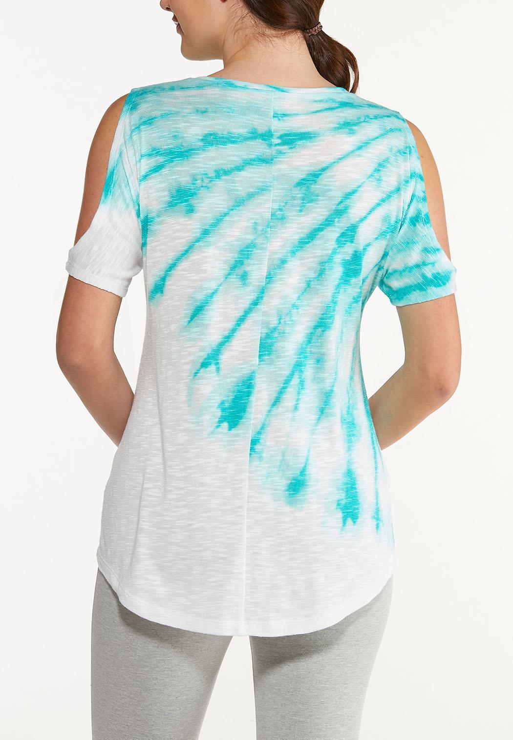 Plus Size Cold Shoulder Tie Dye Top (Item #44548599)