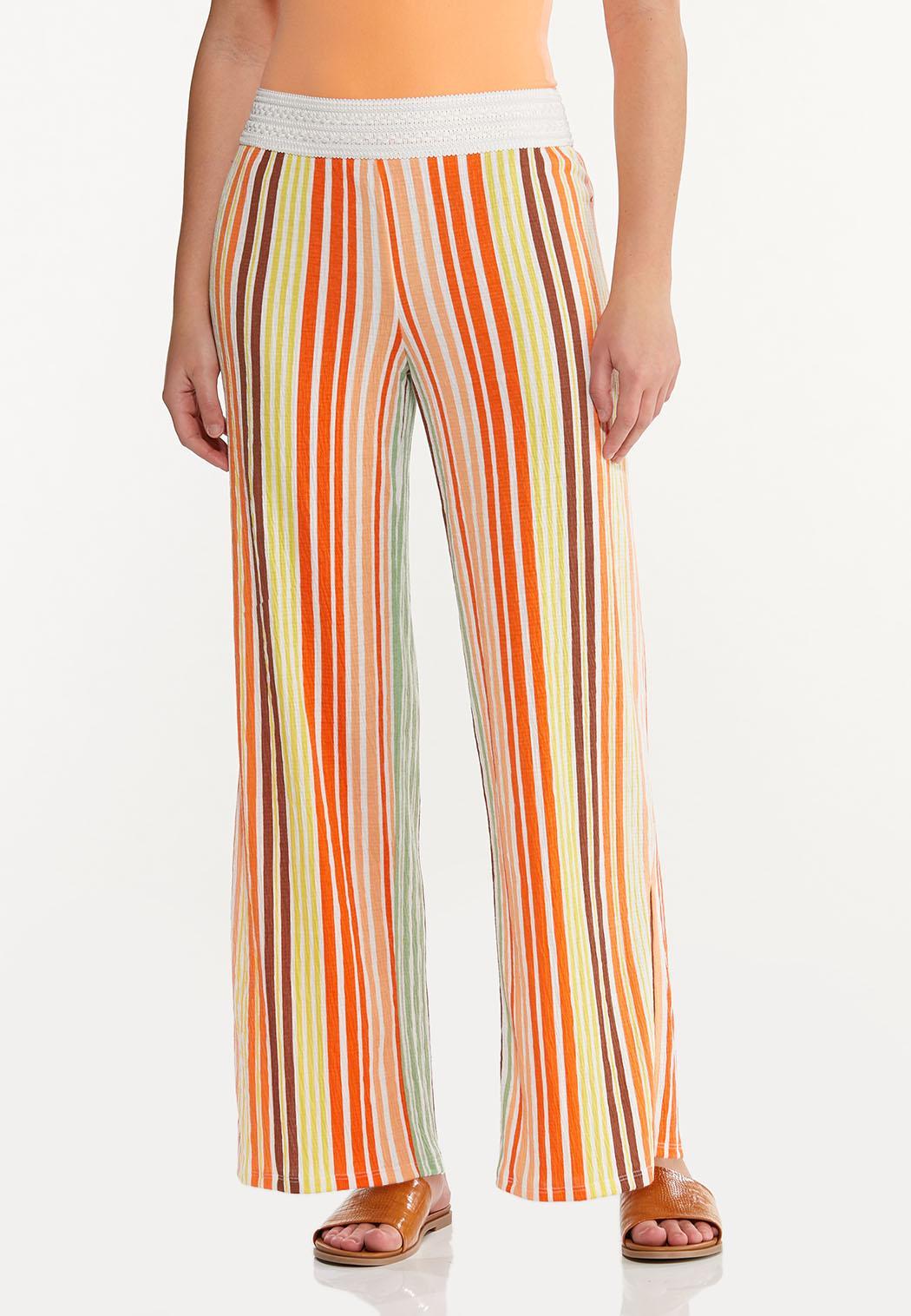 Melon Stripe Wide Leg Pants (Item #44548741)