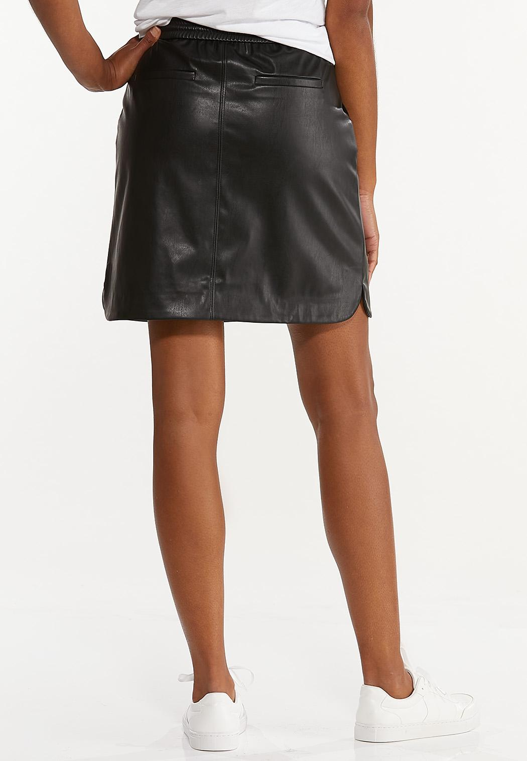 Faux Leather Track Skirt (Item #44548913)