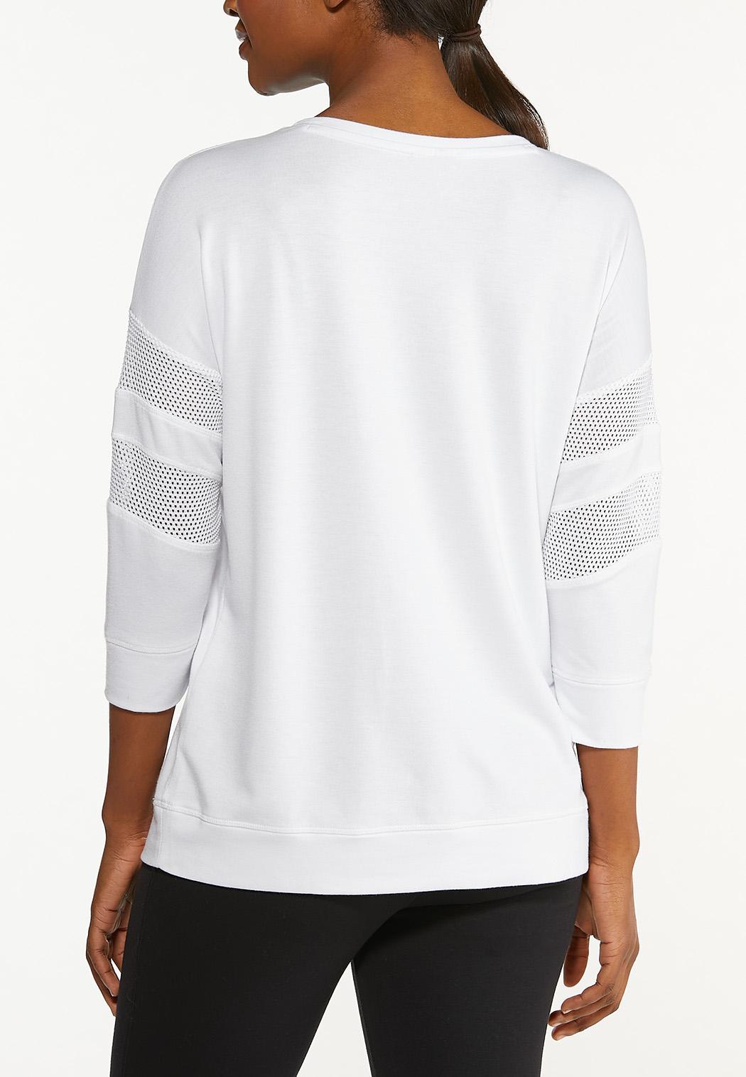 Plus Size White Lace Inset Sweatshirt (Item #44549131)