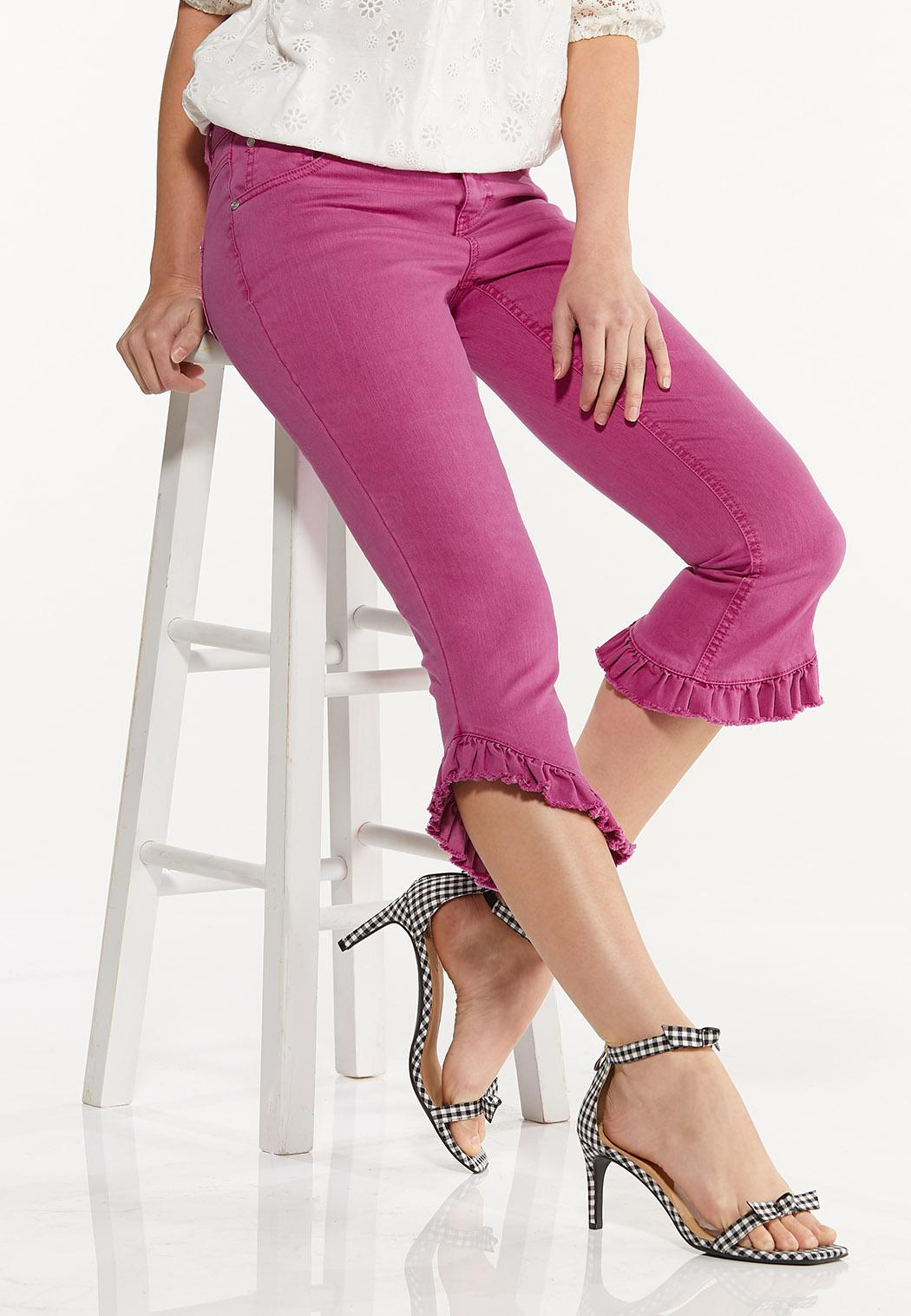Cropped Colored Ruffled Jeans (Item #44550301)