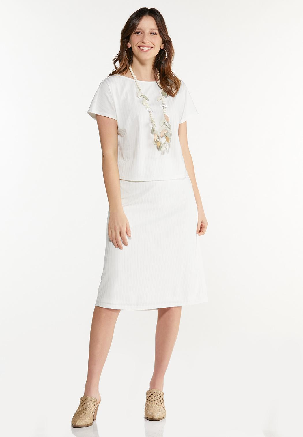Plus Size Ivory Ribbed Skirt (Item #44550475)