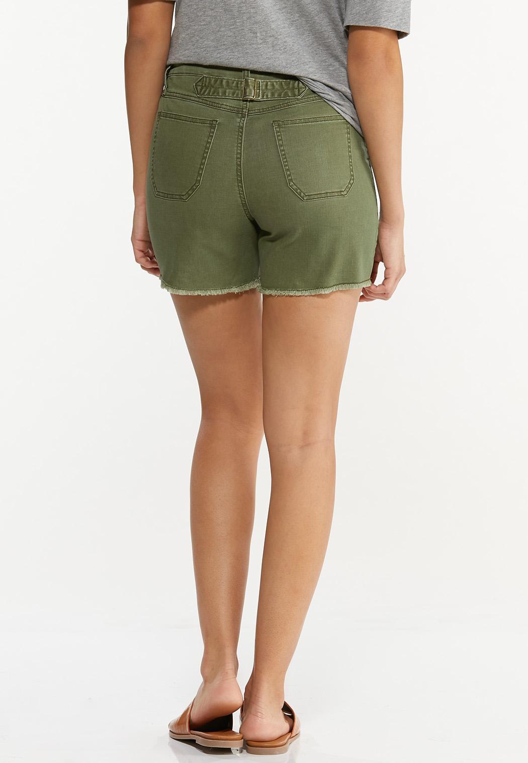 Olive Utility Denim Shorts (Item #44550679)