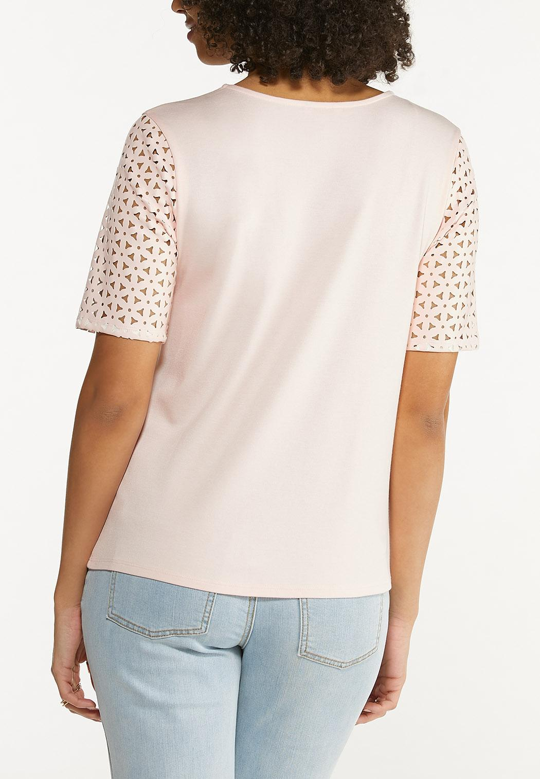 Perforated Sleeve Top (Item #44550730)