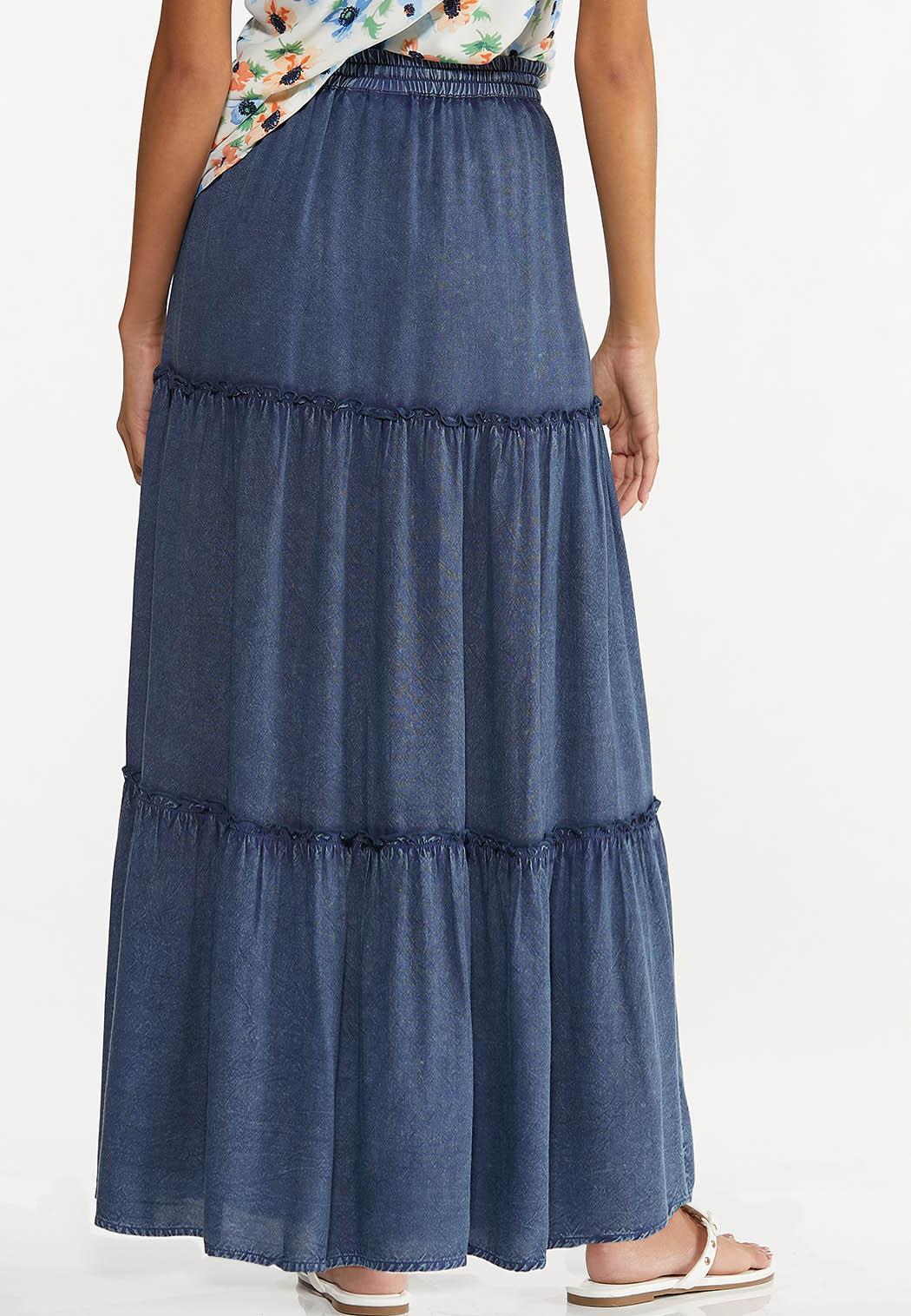 Plus Size Ruffled Vintage Blue Maxi Skirt (Item #44551027)