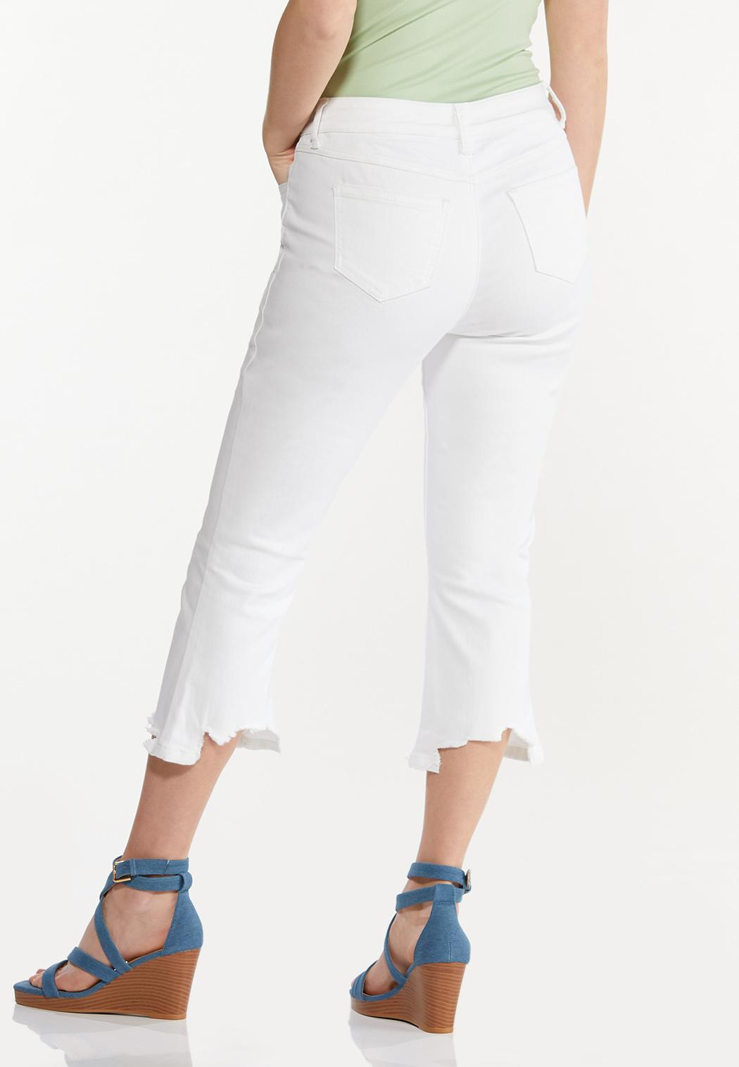 Cropped White Frayed Jeans (Item #44551704)