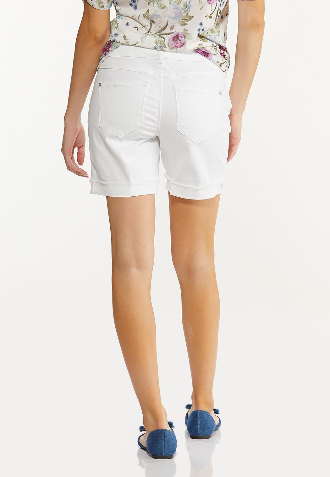 White Distressed Denim Shorts (Item #44551868)
