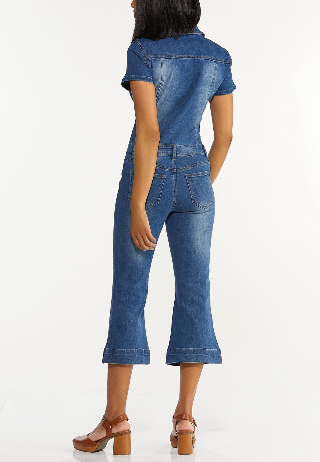 Cropped Denim Jumpsuit (Item #44552051)
