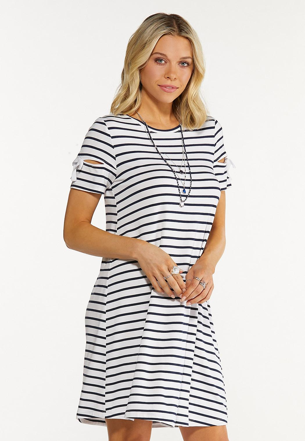 Plus Size Striped Tie Sleeve Dress (Item #44552329)
