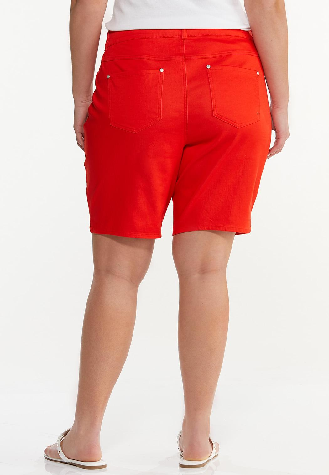 Plus Size Red Denim Shorts (Item #44552343)