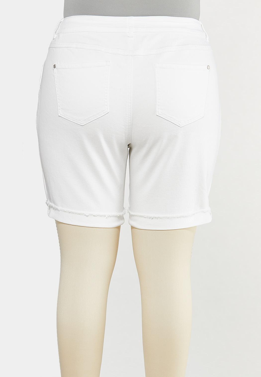 Plus Size White Distressed Denim Shorts (Item #44552387)