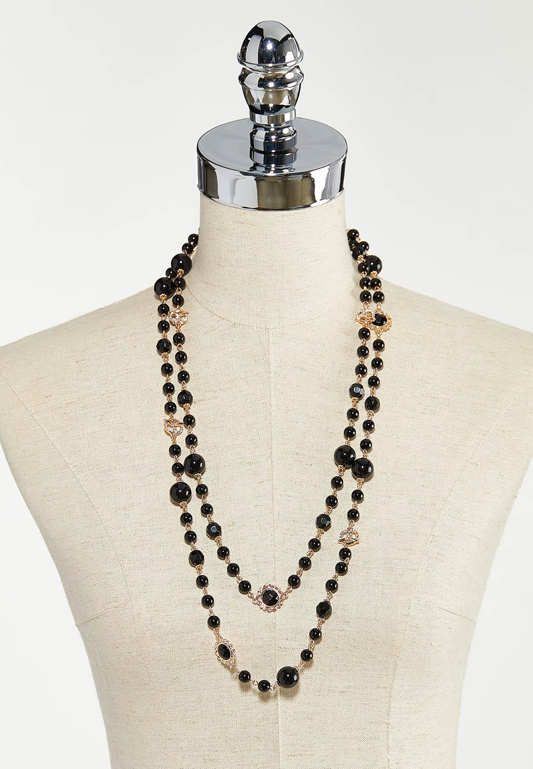 Black Layered Bead Necklace (Item #44552430)