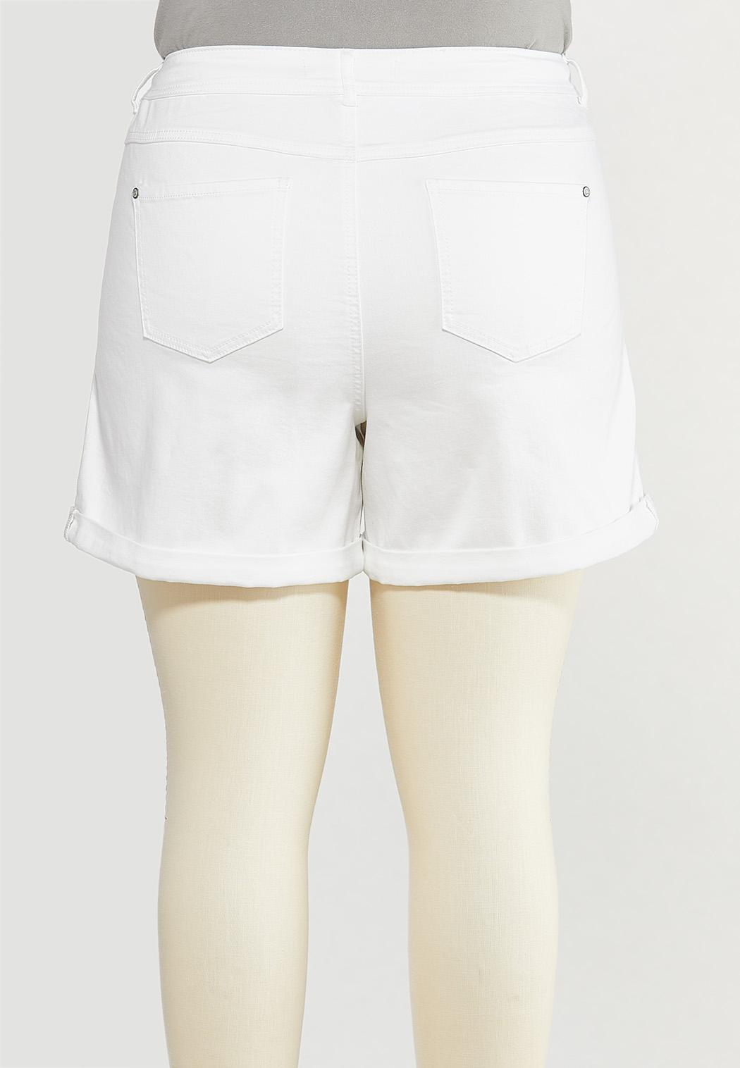 Plus Size White Denim Shorts (Item #44552452)