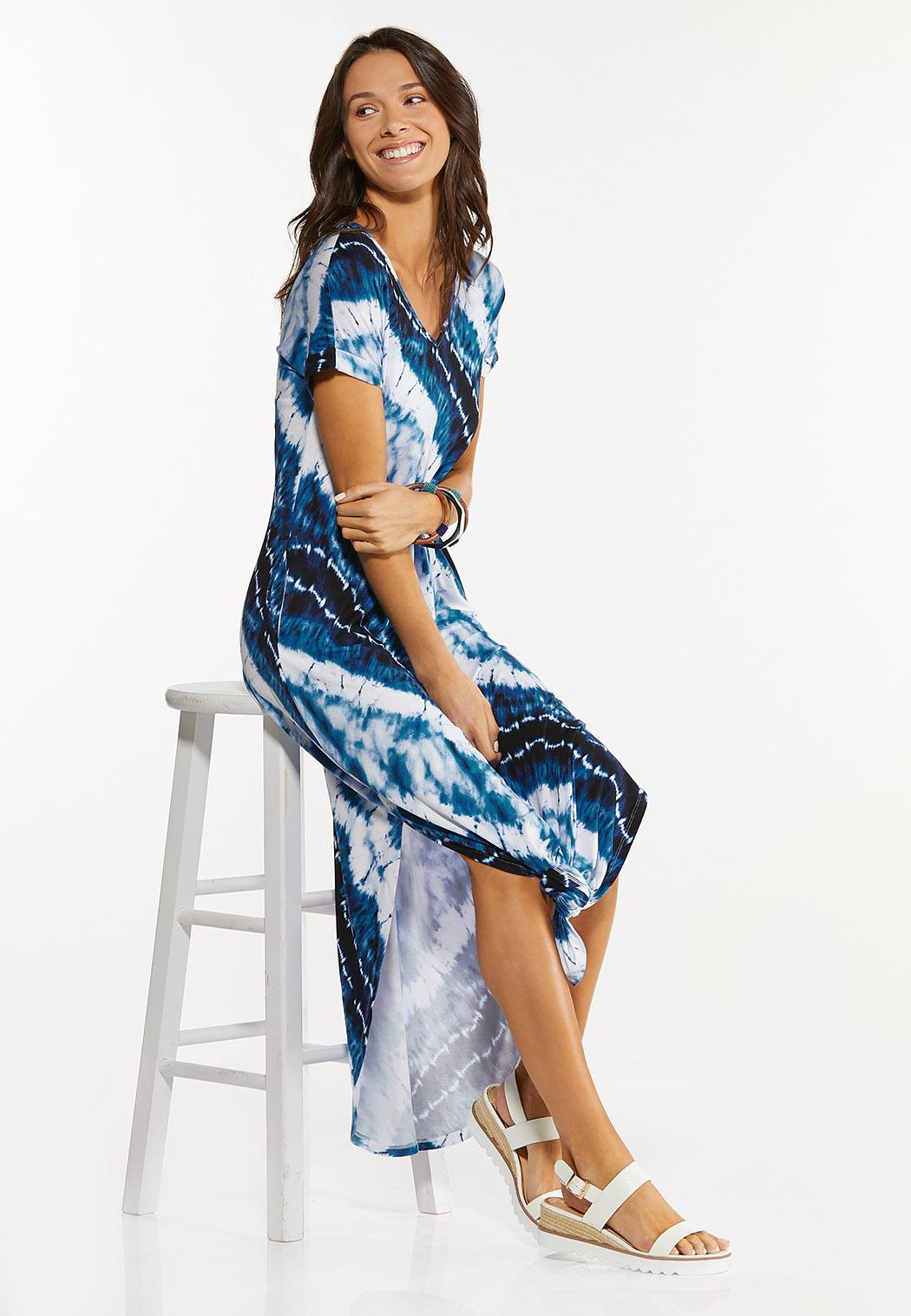 Plus Size Knotted Tie Dye Maxi Dress (Item #44552543)