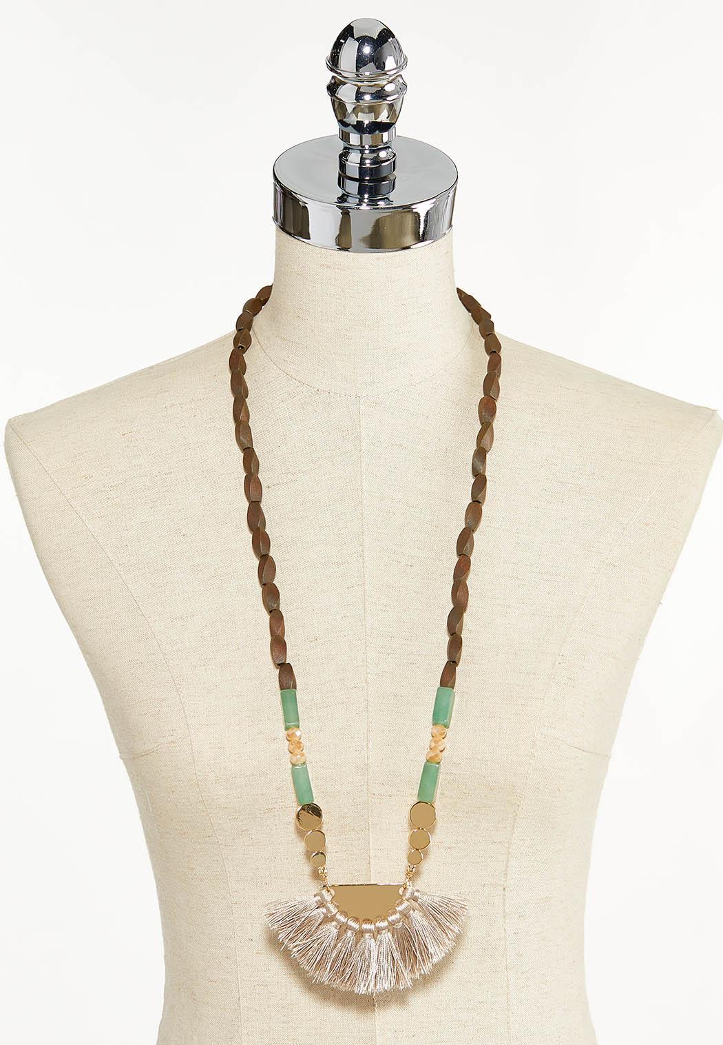 Wood Bead Fan Tassel Necklace (Item #44552545)