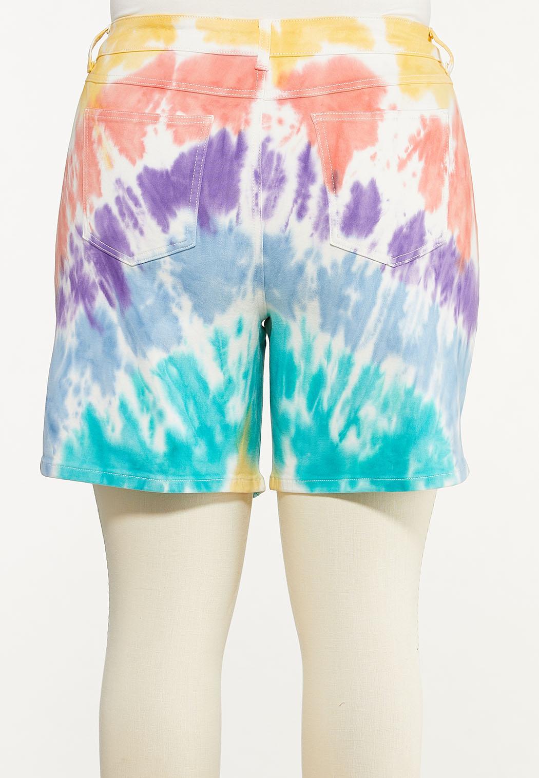 Plus Size Tie Dye Jean Shorts (Item #44552546)