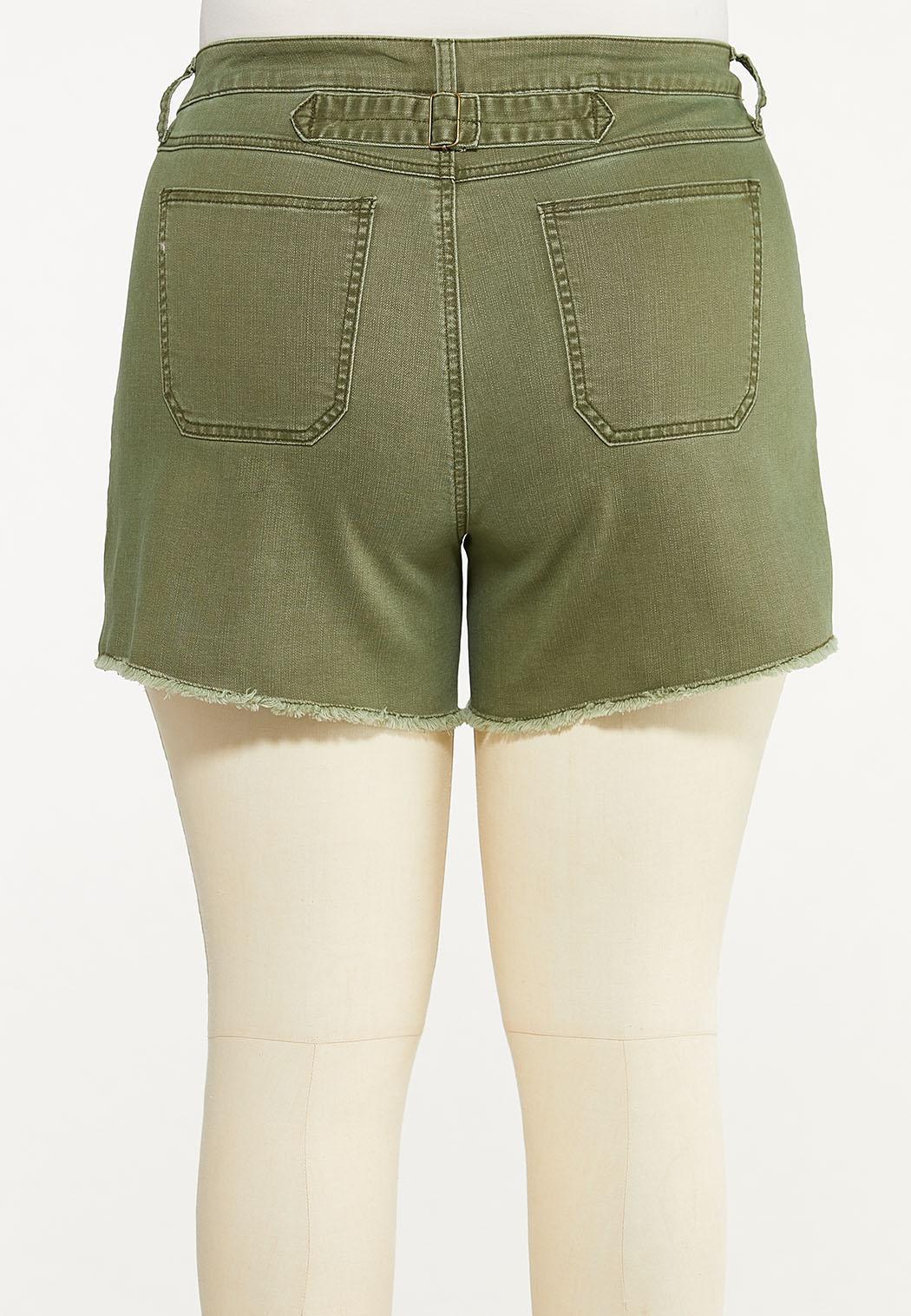 Plus Size Olive Utility Denim Shorts (Item #44552578)