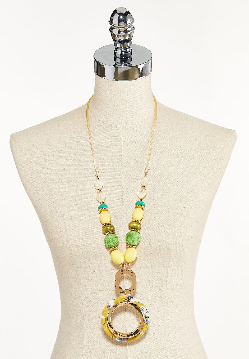 Fabric Wrapped Pendant Bead Necklace (Item #44552604)