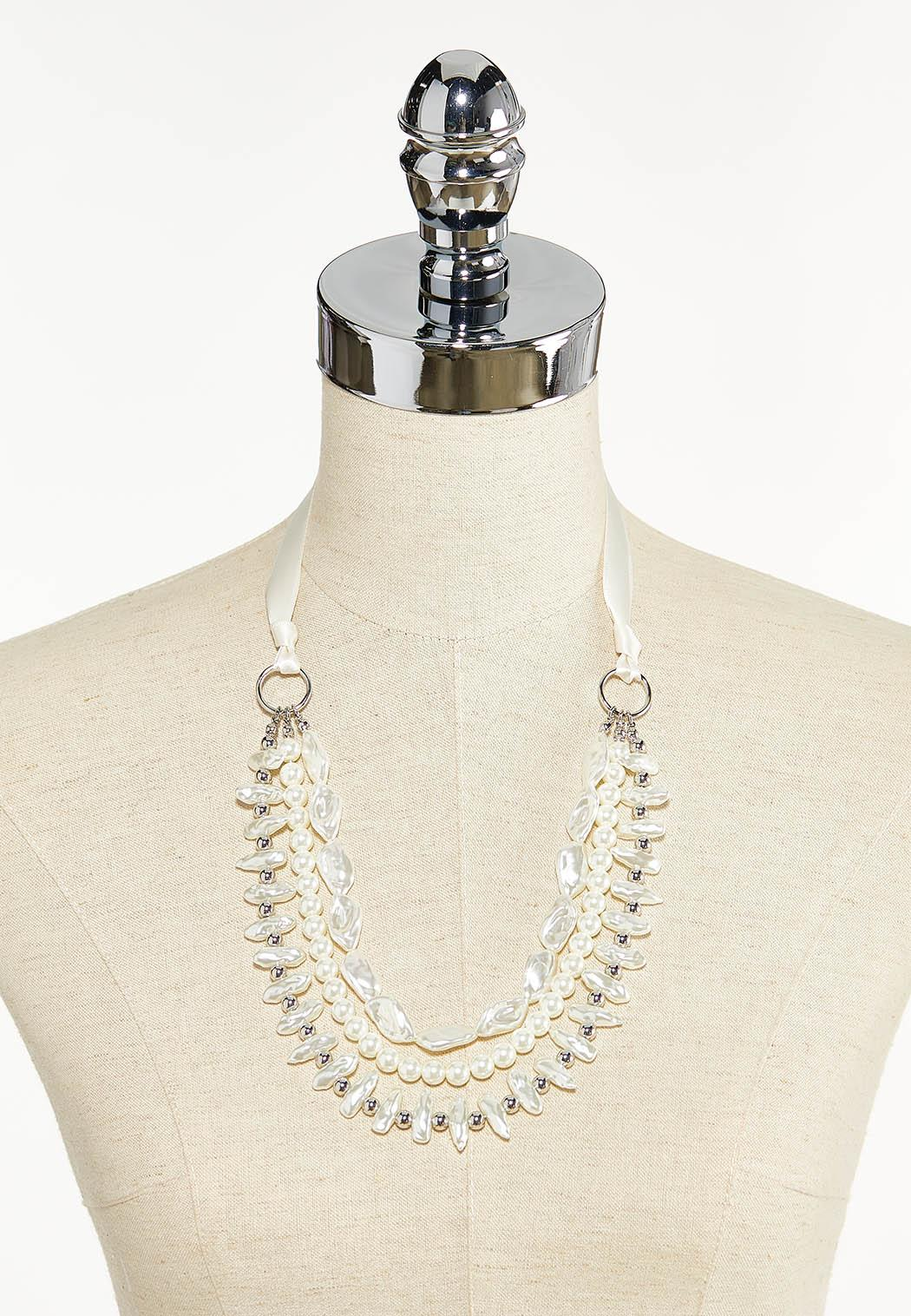 Pearl Ribbon Necklace (Item #44552760)