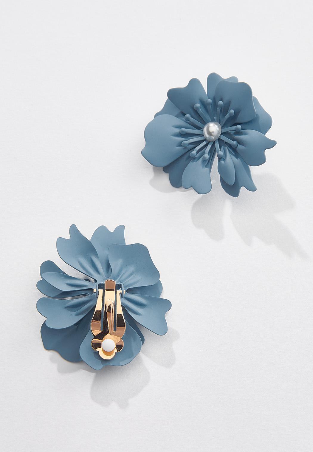 Matte Enamel Flower Clip-On Earrings (Item #44552776)