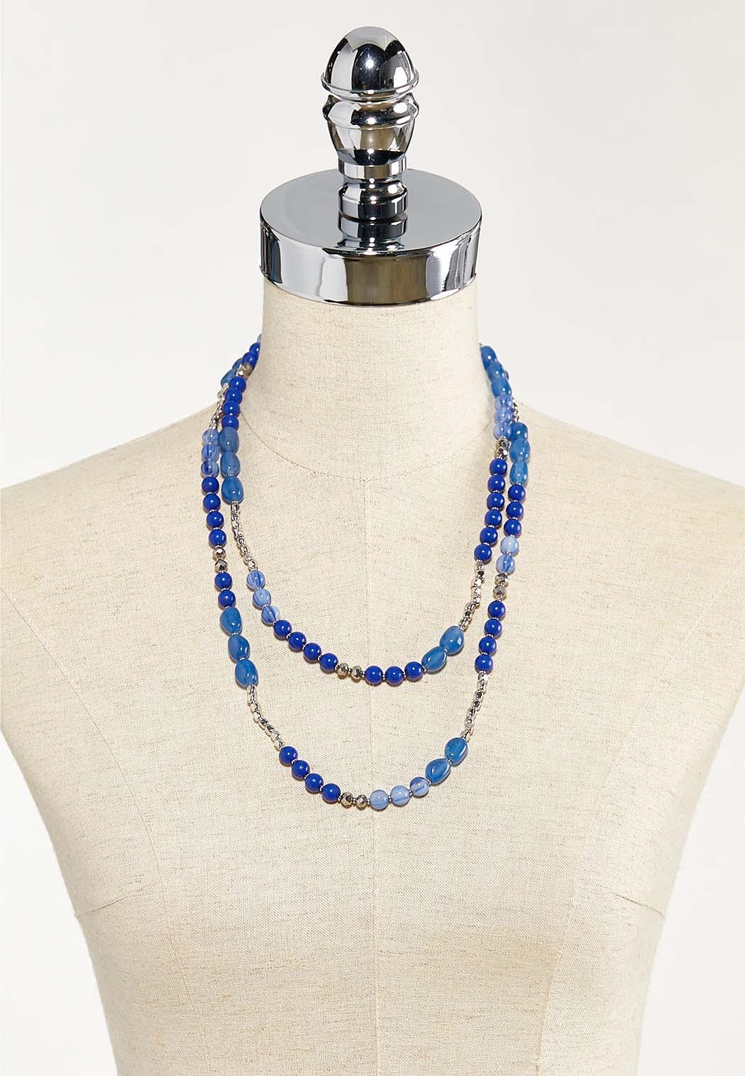 Layered Blue Bead Necklace (Item #44553337)