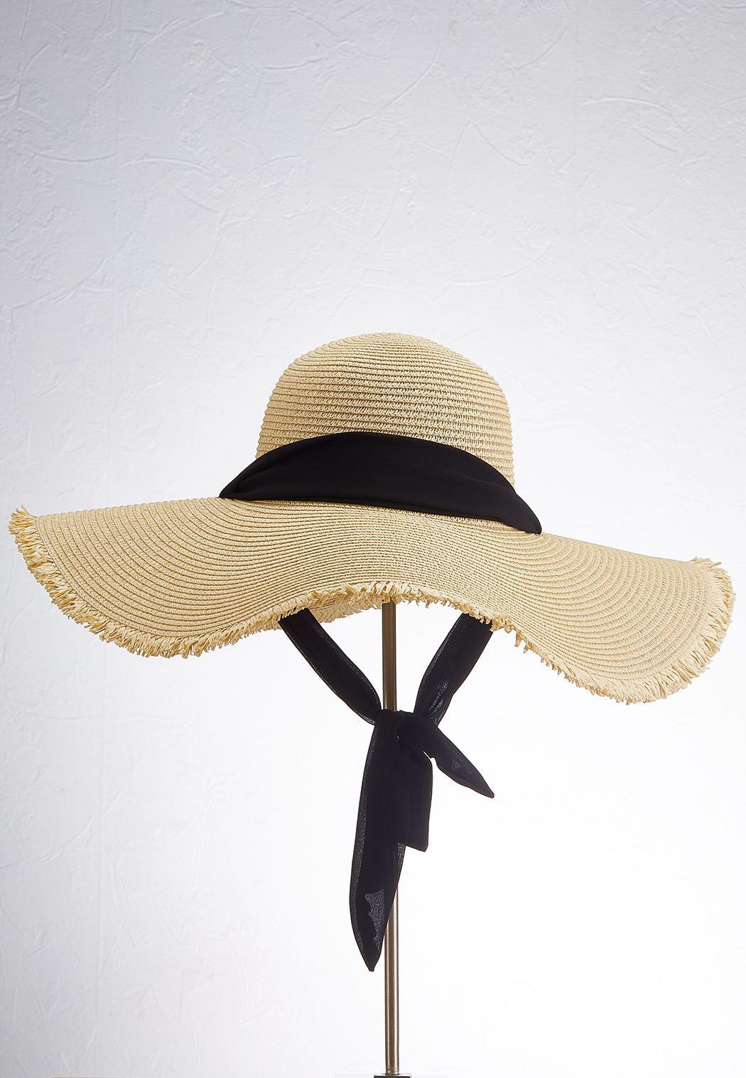 Neck Tie Fringe Floppy Hat (Item #44554392)