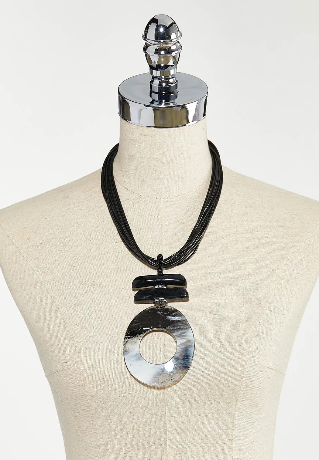 Oversized Resin Pendant Cord Necklace (Item #44554477)