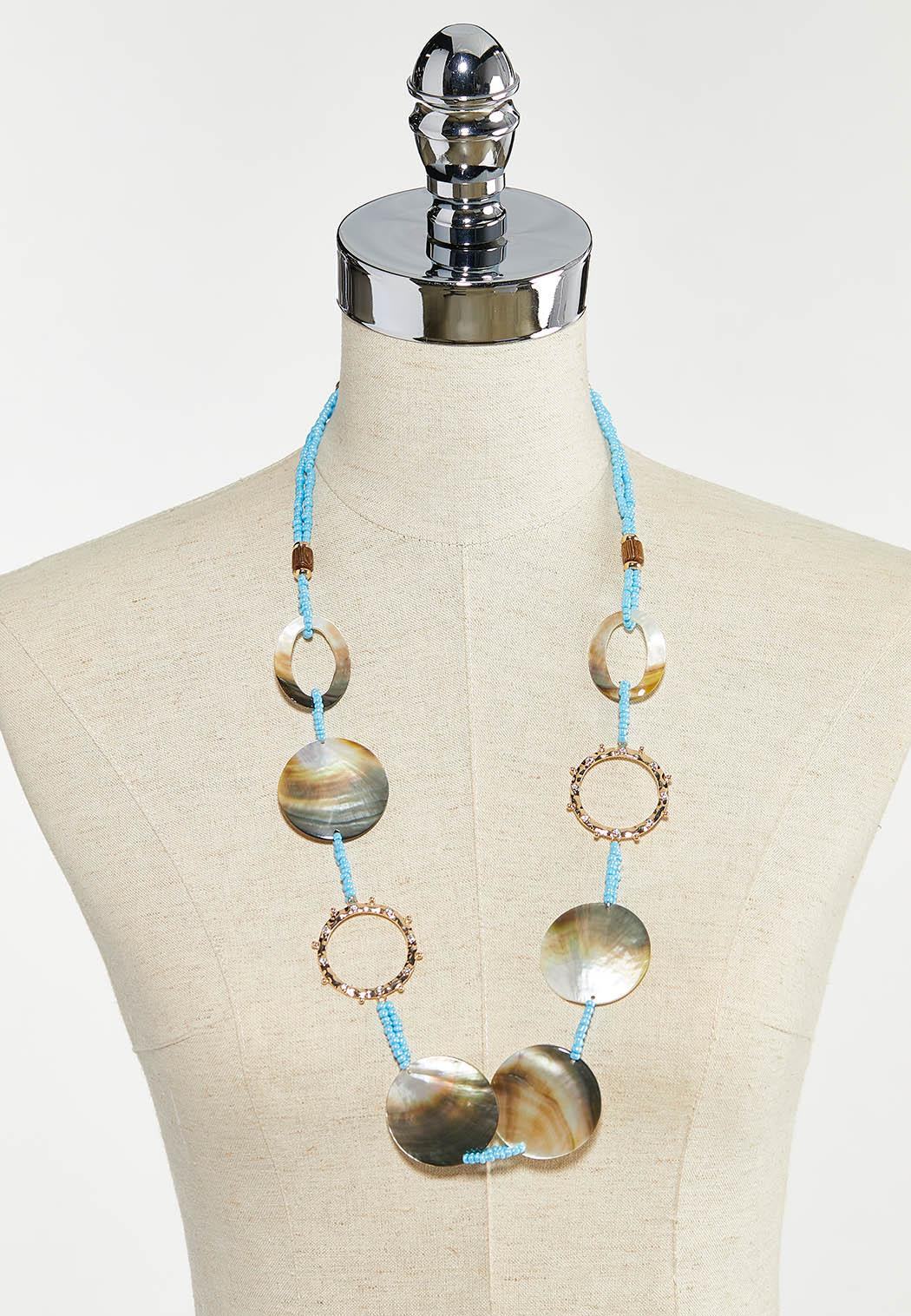 Shell Seed Bead Cord Necklace (Item #44554513)