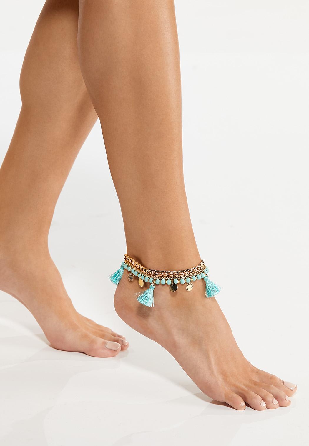 Tasseled Chain Anklet Set (Item #44554761)