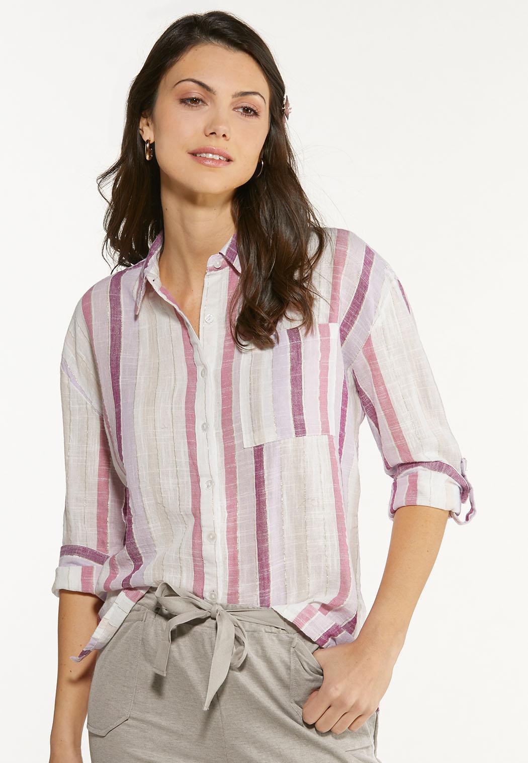 Berry Stripe Linen Shirt (Item #44555183)