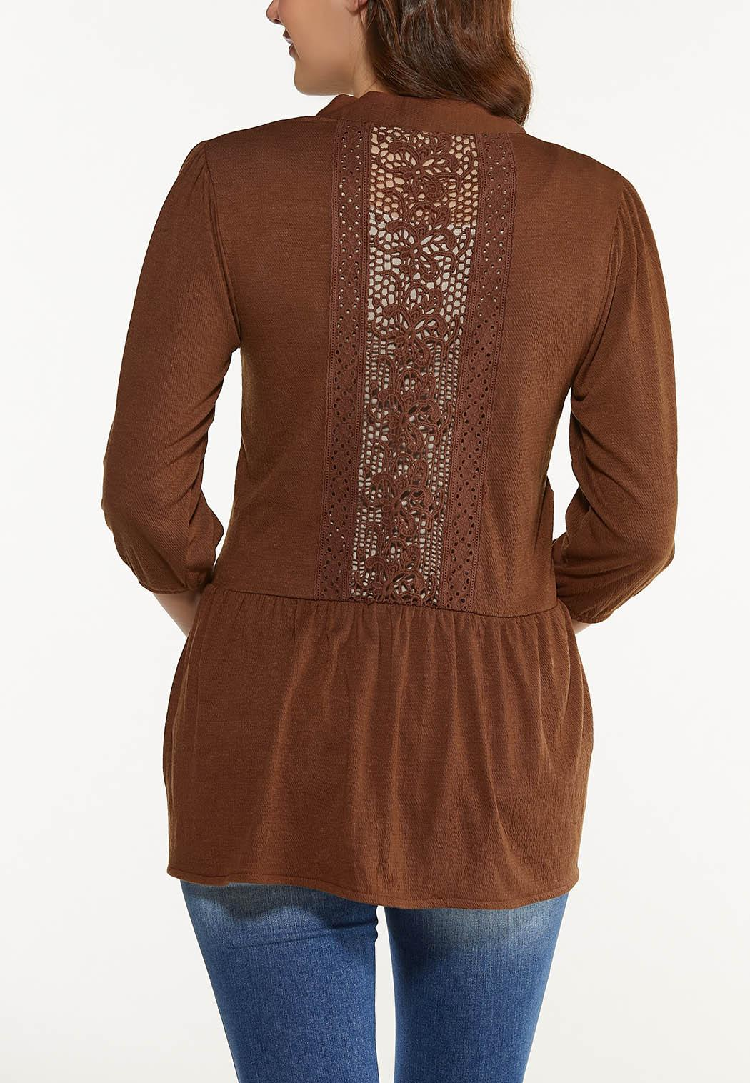 Plus Size Brown Crochet Cardigan (Item #44556002)