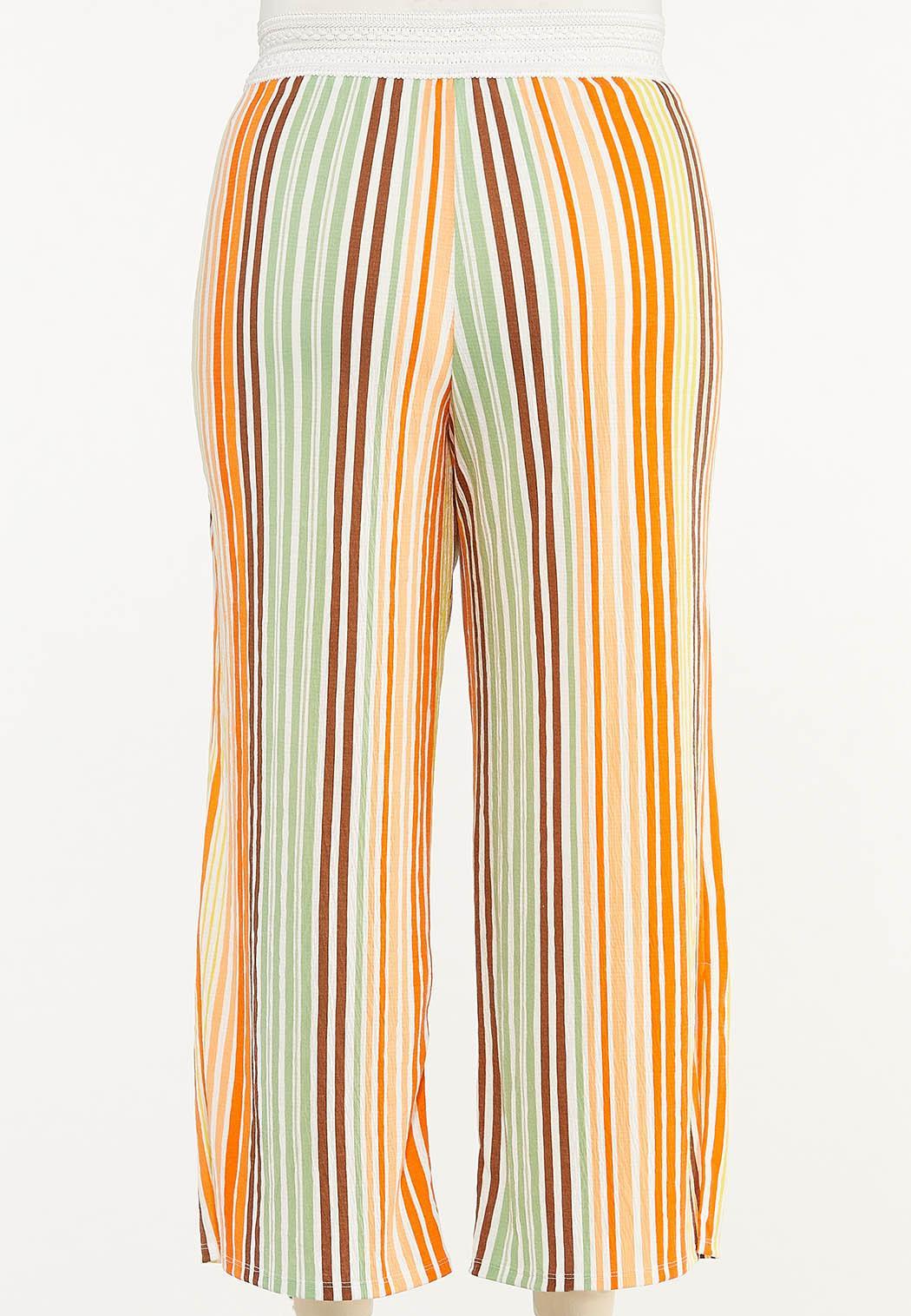 Plus Size Melon Stripe Wide Leg Pants (Item #44556151)