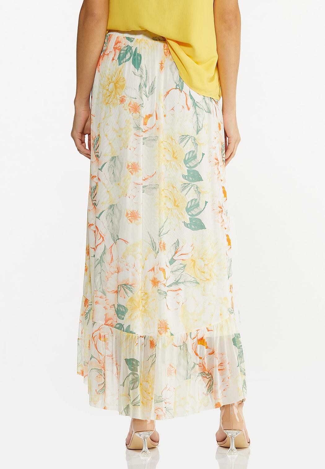 Plus Size Floral Mesh Maxi Skirt (Item #44557609)