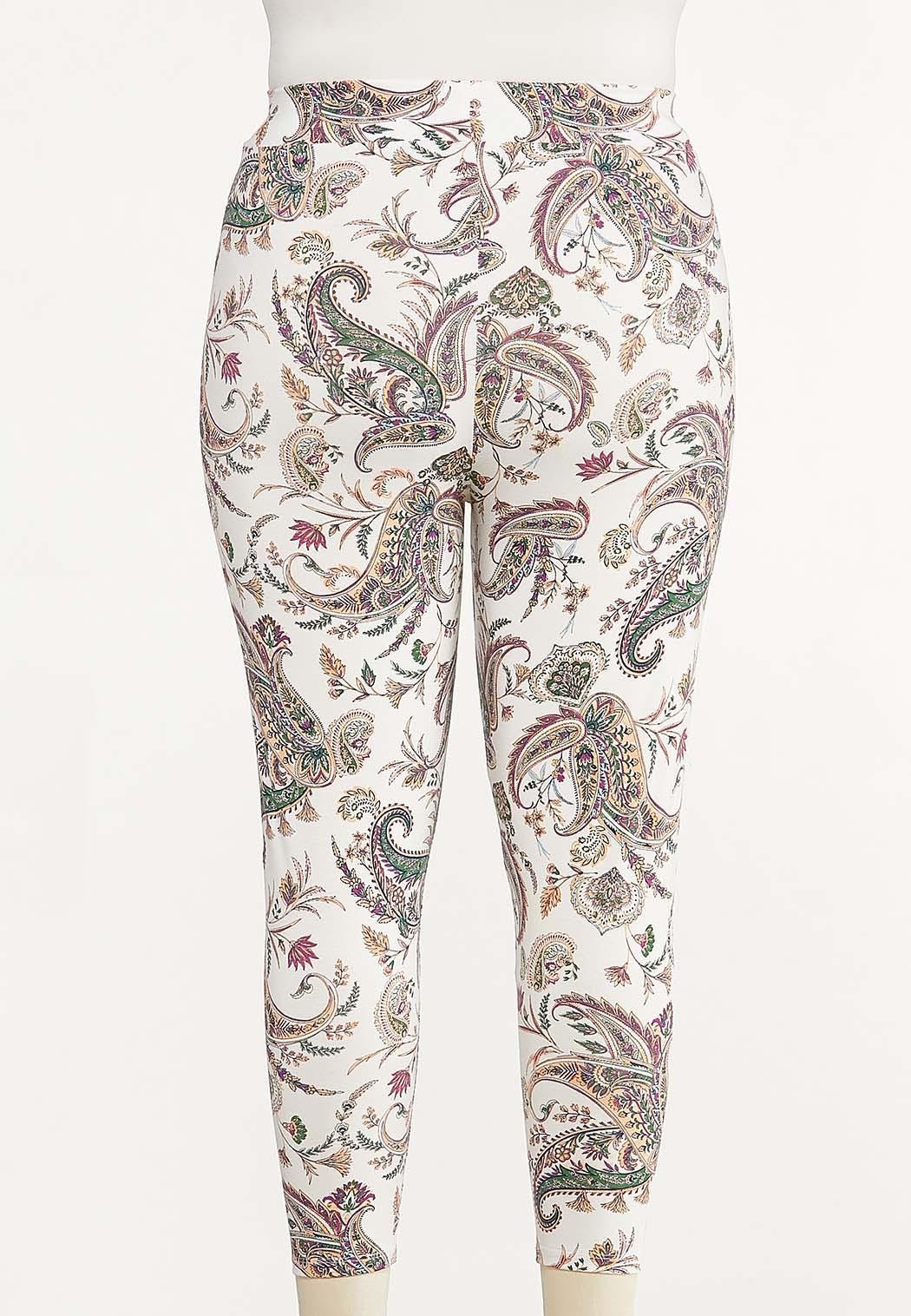 Plus Size Cropped Paisley Leggings (Item #44557664)