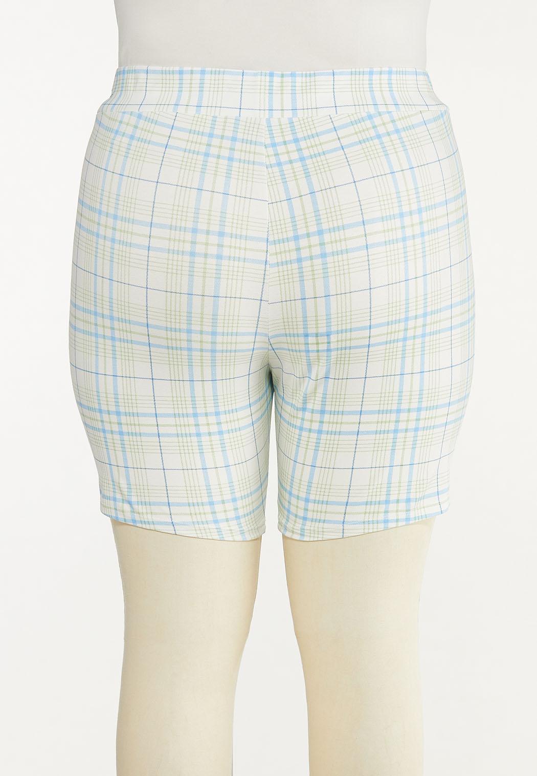 Plus Size Spring Plaid Biker Shorts (Item #44558185)