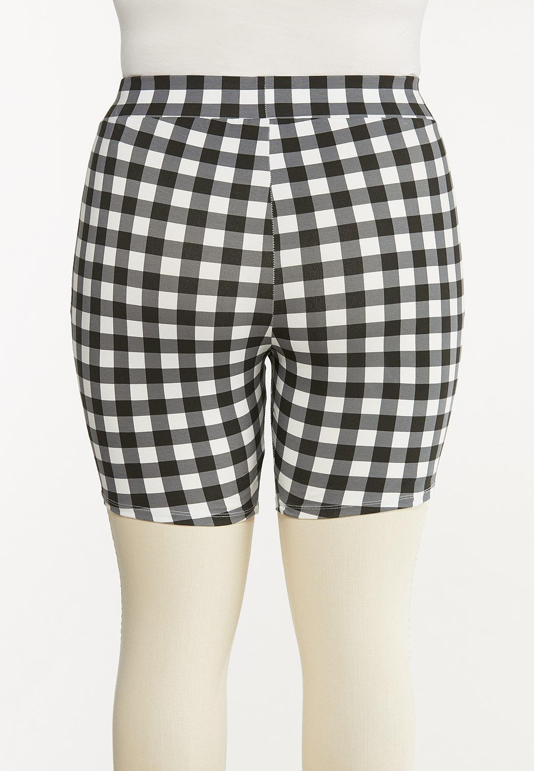 Plus Size Gingham Biker Shorts (Item #44558198)