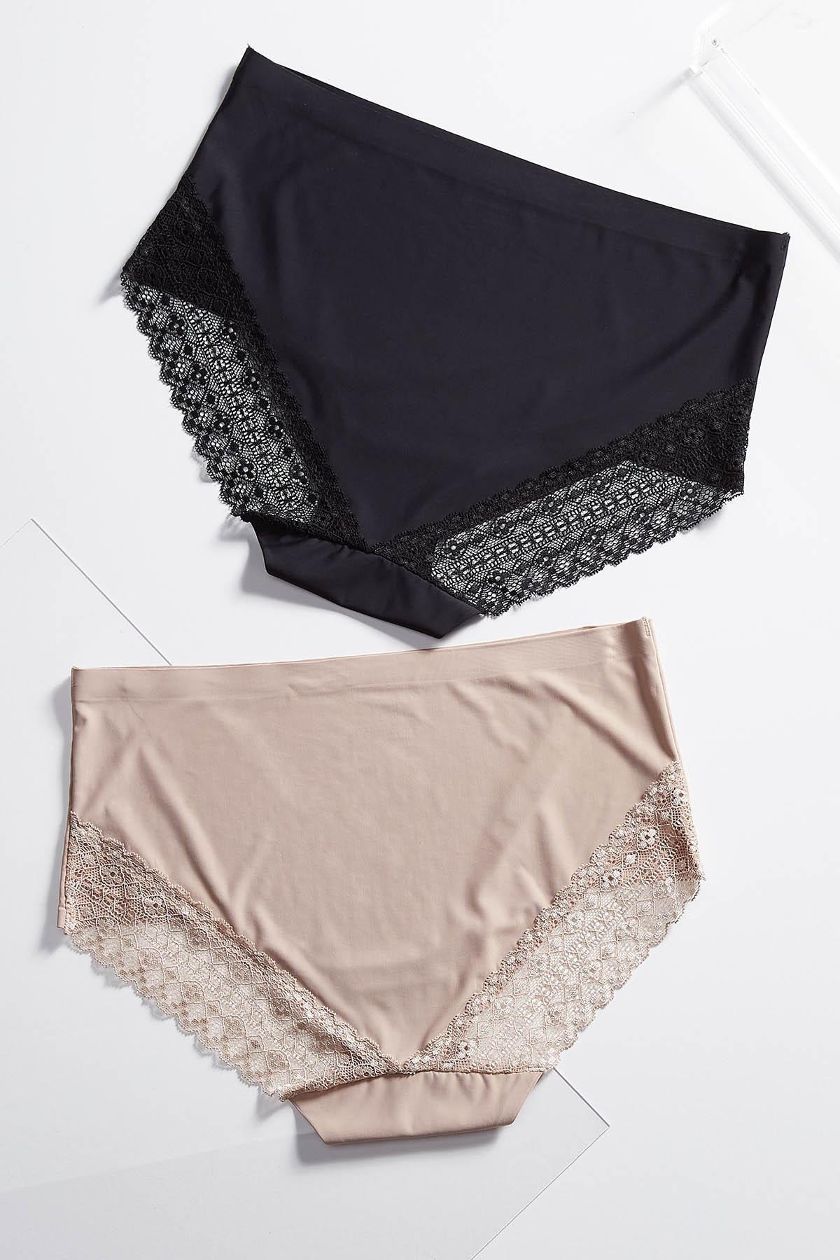 Plus Size Lace Trim Panty Set (Item #44559370)