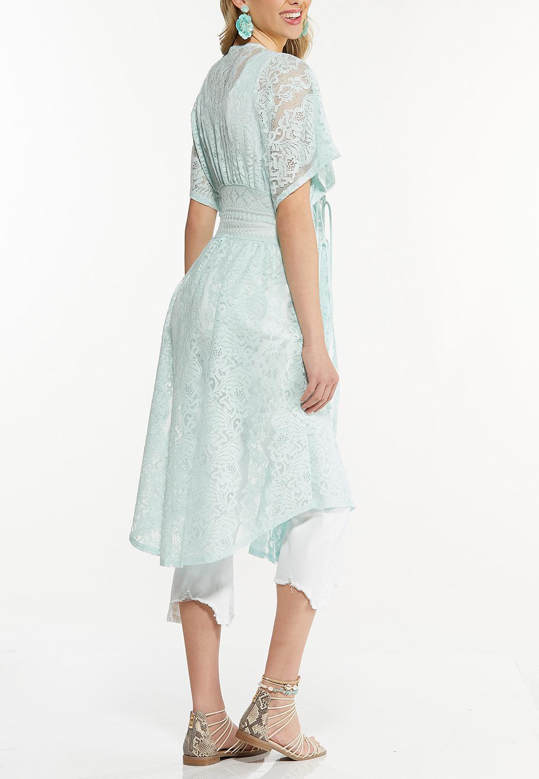 Plus Size Lace Midi Kimono  (Item #44559604)