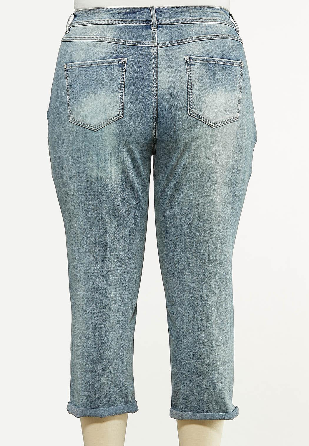 Plus Size Cropped Potassium Wash Skinny Jeans (Item #44560344)