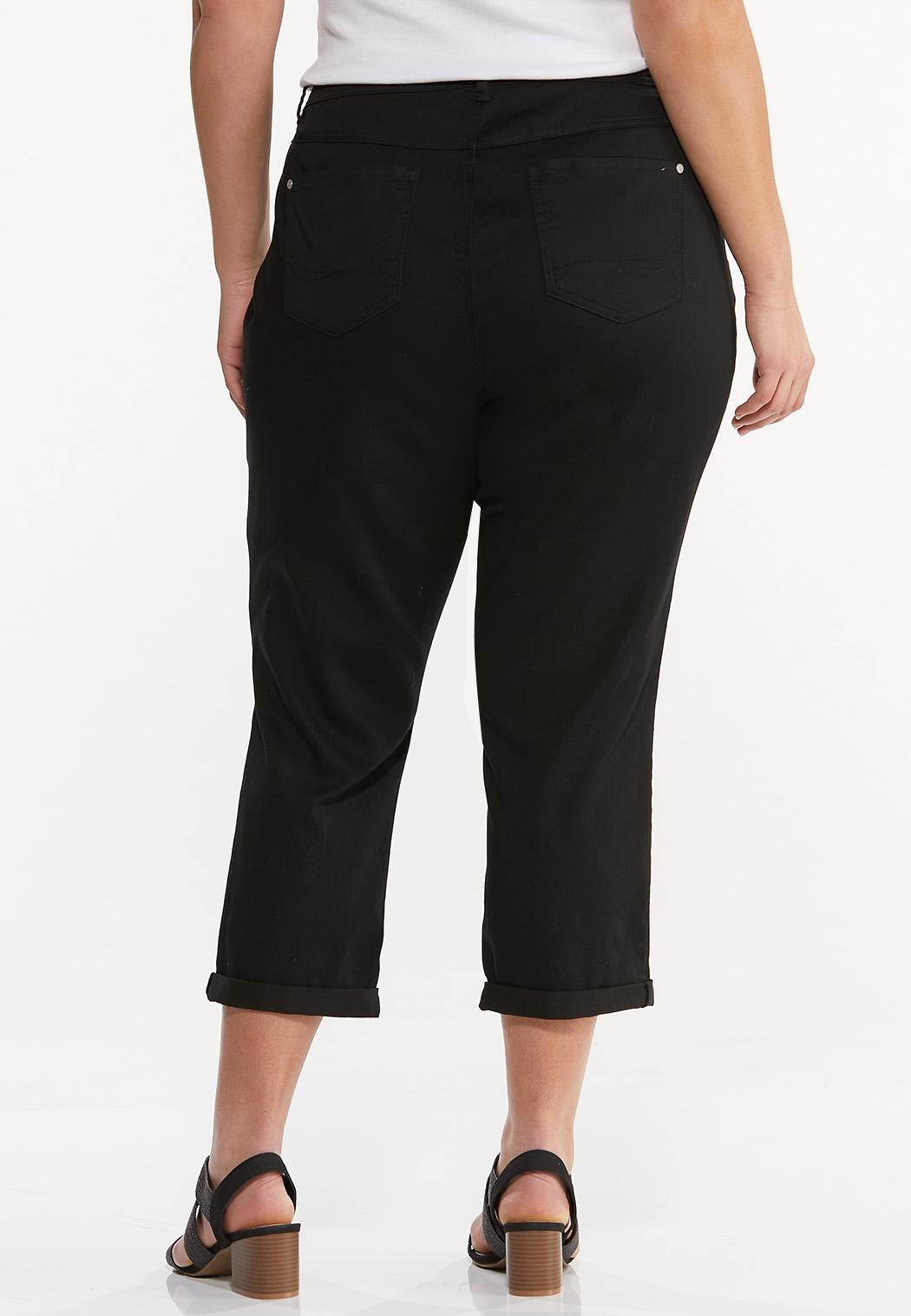 Plus Size Cropped Black Skinny Jeans (Item #44560424)