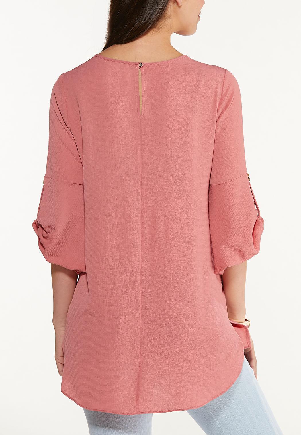 Plus Size Textured Tab Sleeve Top (Item #44560589)