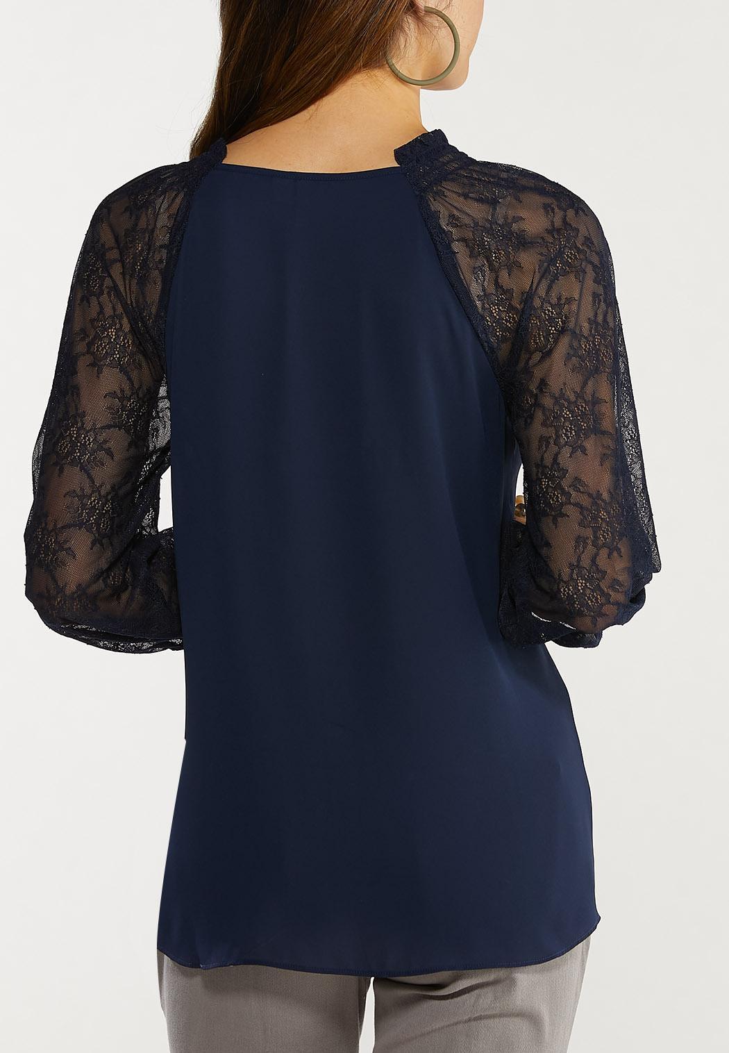 Plus Size Lace Sleeve Poet Top (Item #44560668)