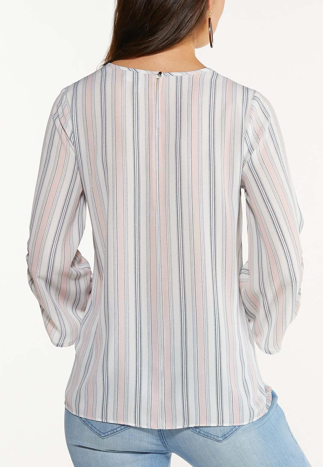 Plus Size Stripe Ruched Sleeve Top (Item #44560829)
