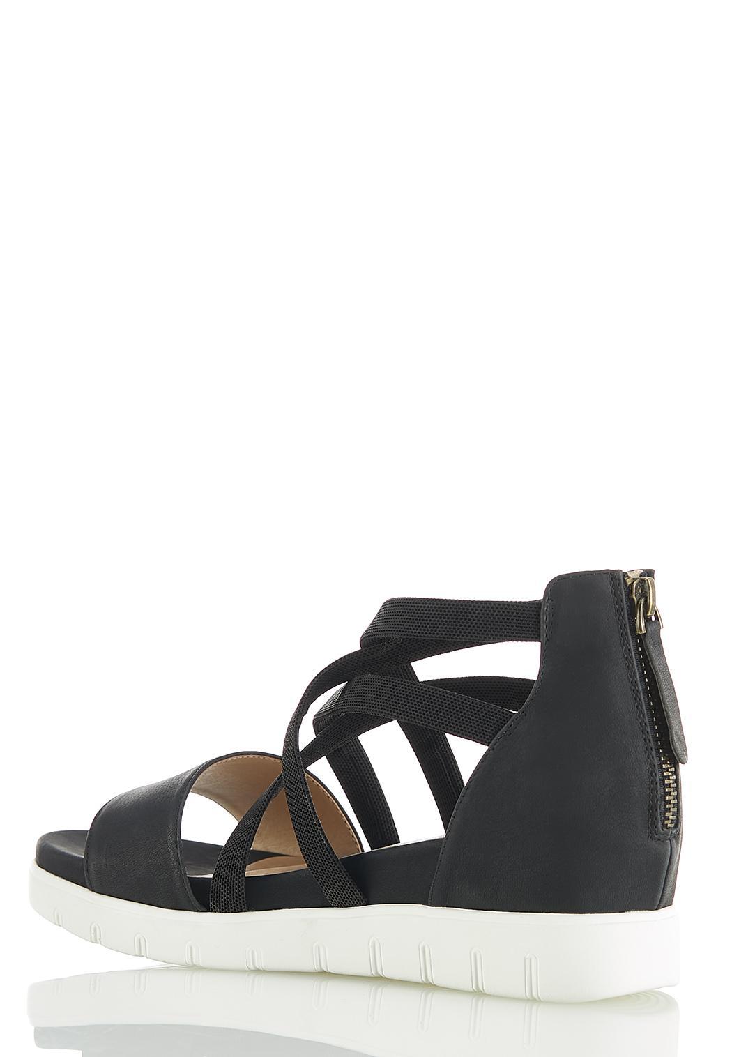 Wide Width Stretch Crossband Wedge Sandals (Item #44560900)