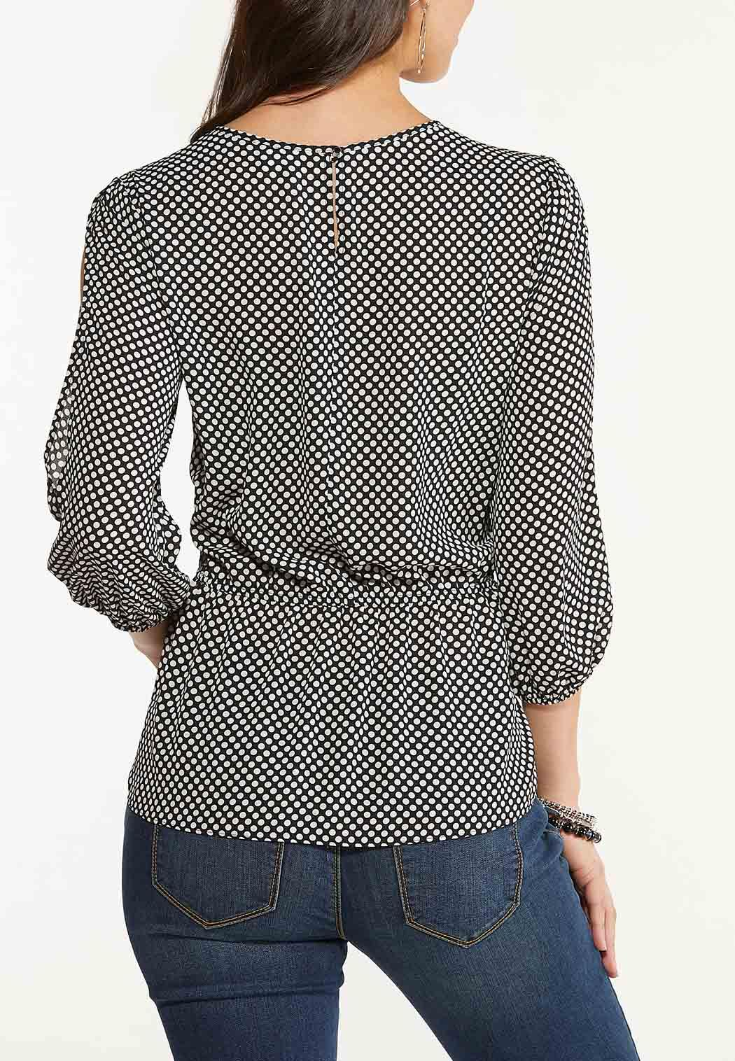 Plus Size Dotted Split Sleeve Top (Item #44561242)